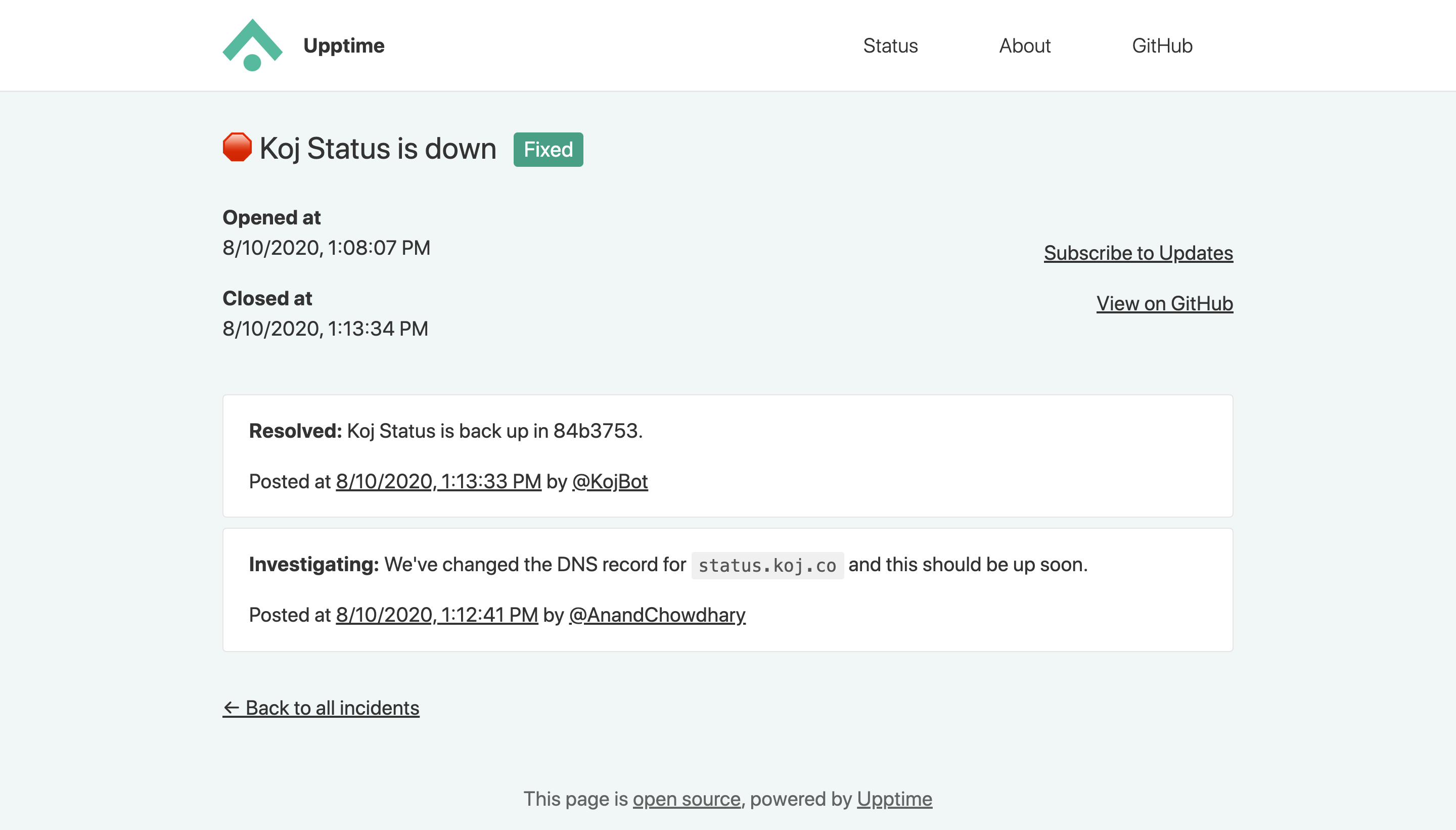 Screenshot of incident page