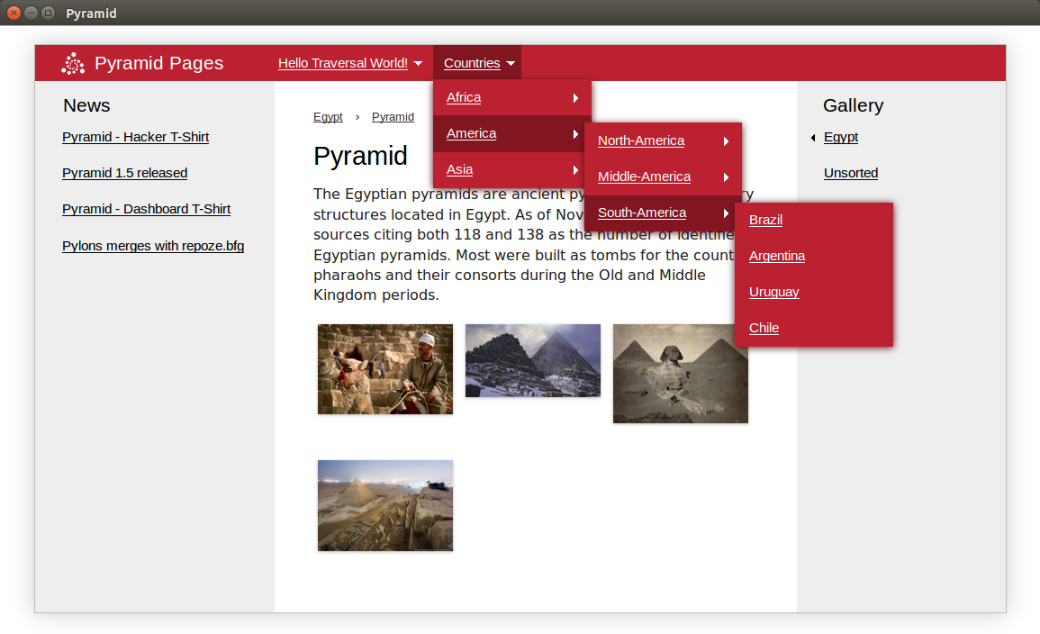 pyramid_pages - example of website pages tree