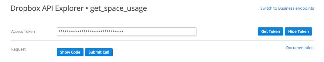 Dropbox Auth Token