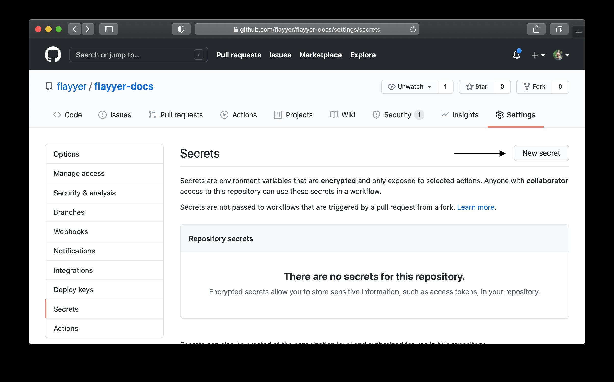 Github example of adding api keys to secrets