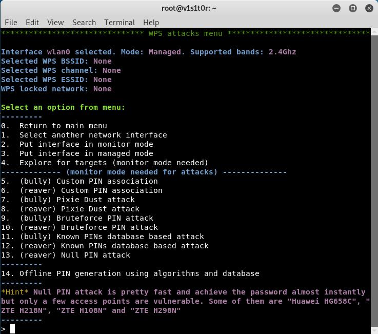 WPS attacks menu