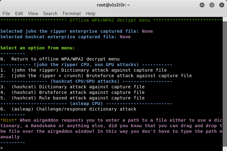 Enterprise Offline decryption menu