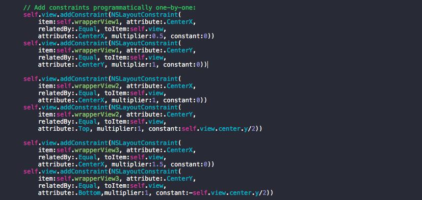 Screenshot of update constraints method
