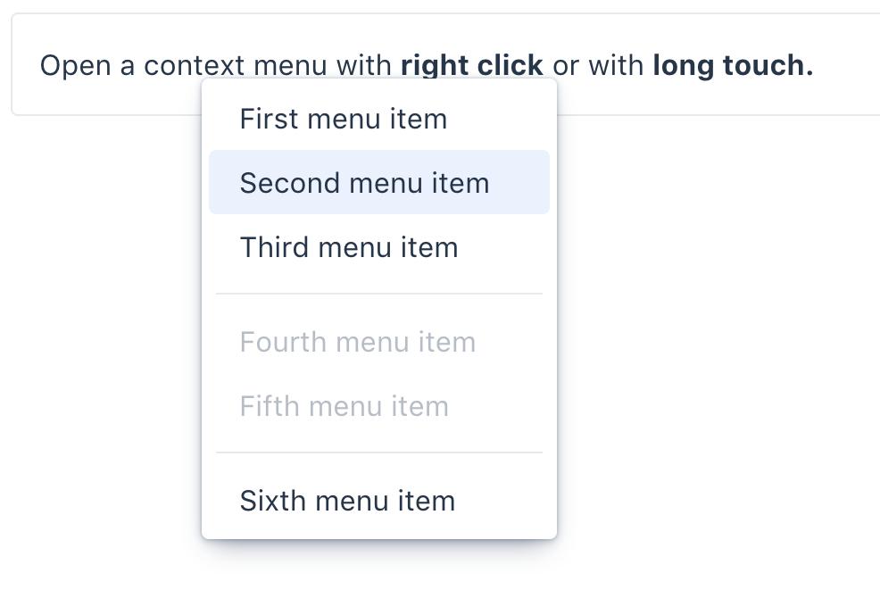 Screenshot of vaadin-context-menu