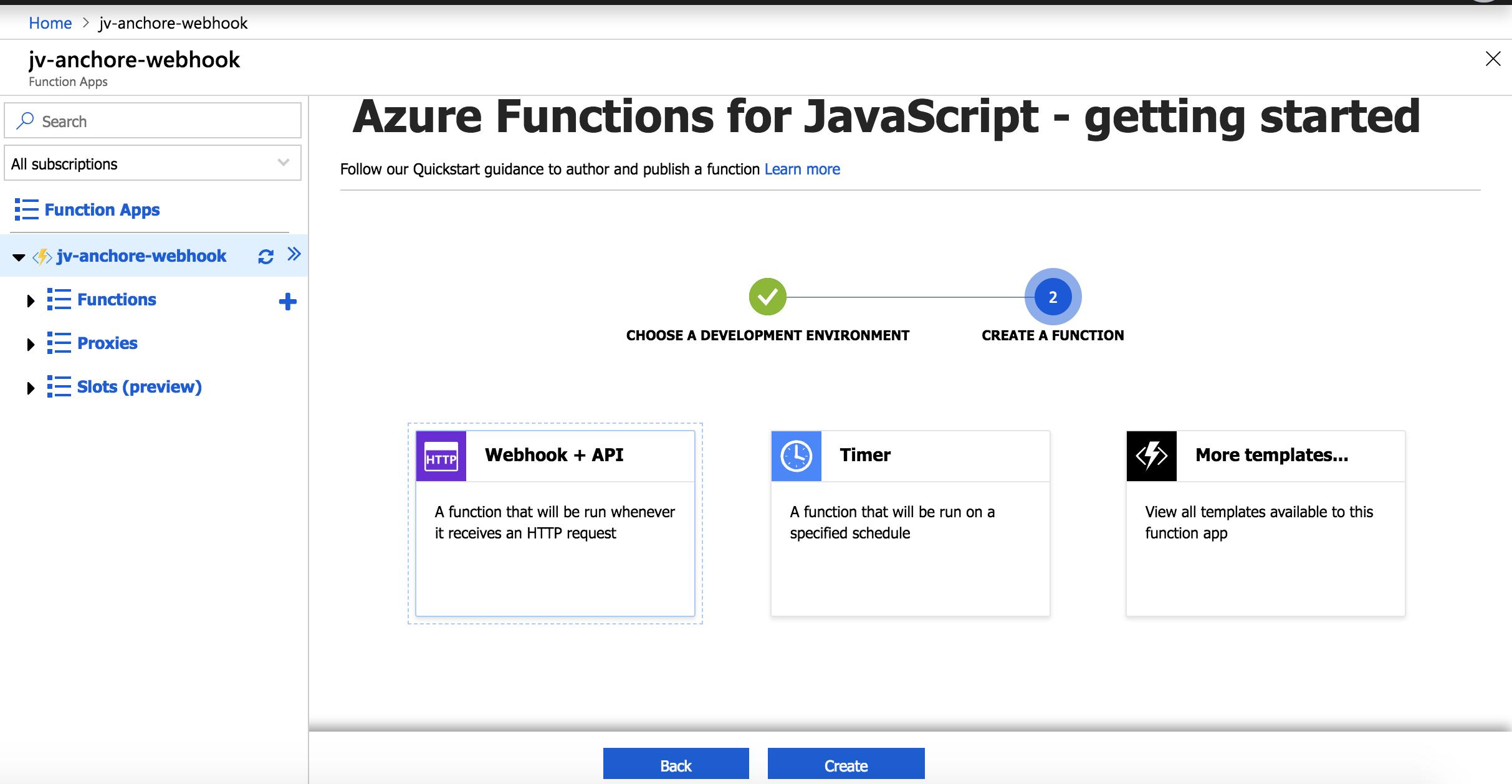 Azure configuration for Javascript.