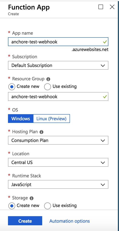 Create function app for webhook test.