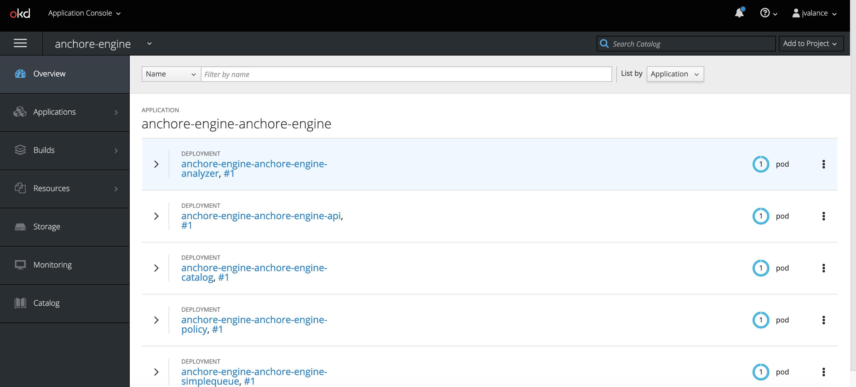 Installation check via OpenShift user interface.