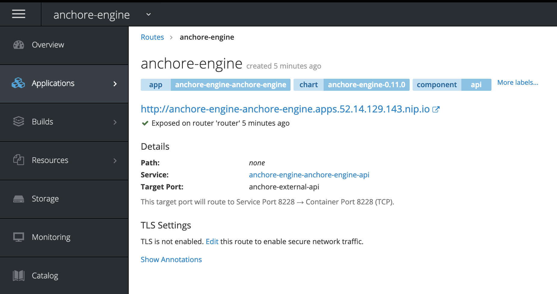 Hostname of route set in Anchore CLI URL environment variable.