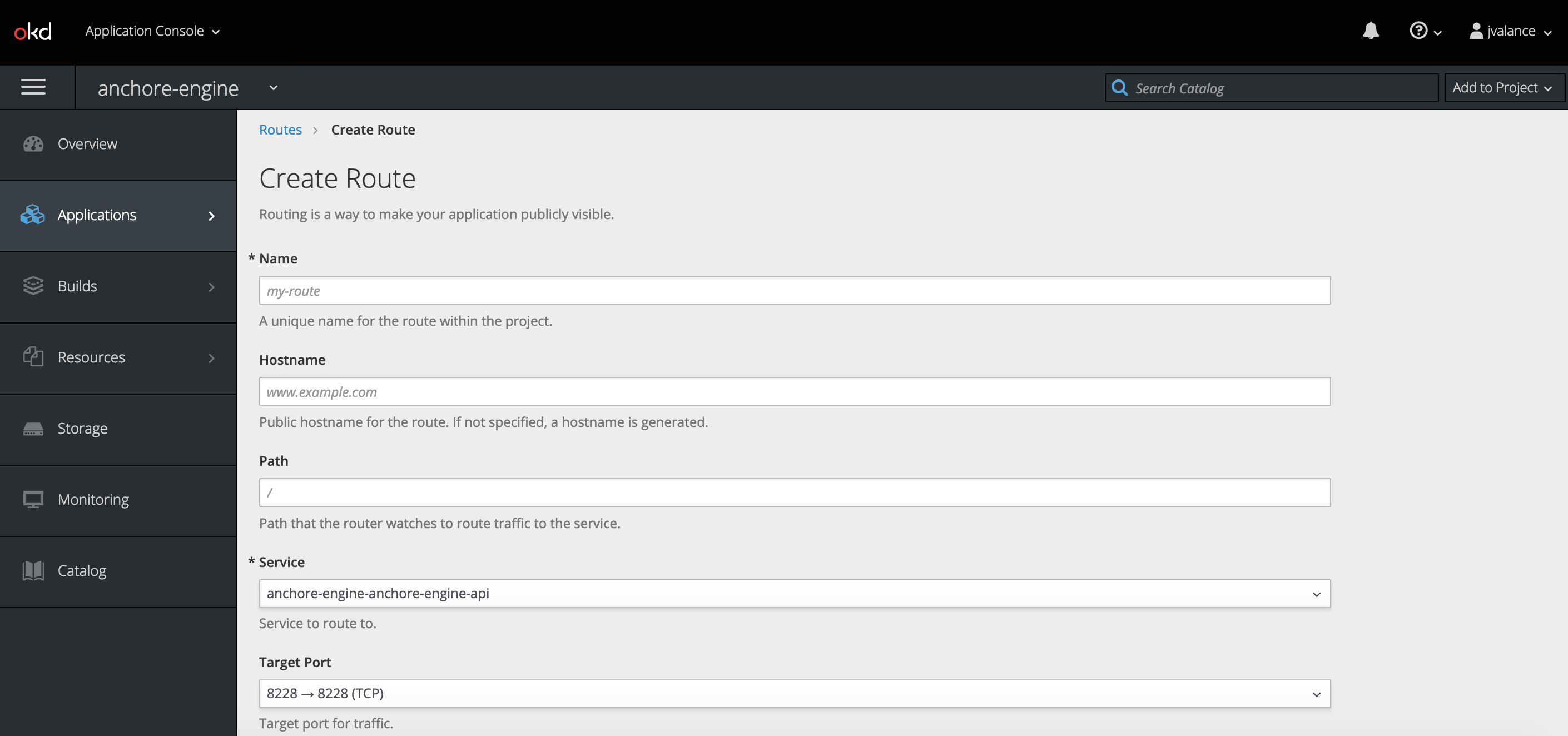 Anchore Engine exposed in OpenShift UI.