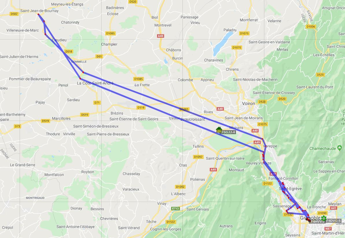 Trajet de 70 Km aller-retour entre Saint-Jean de Bournay et Grenoble