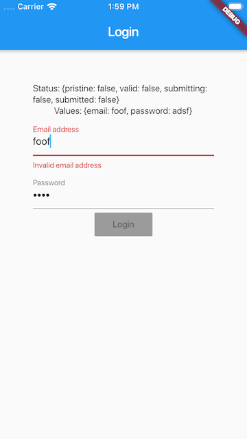 Login form using formini