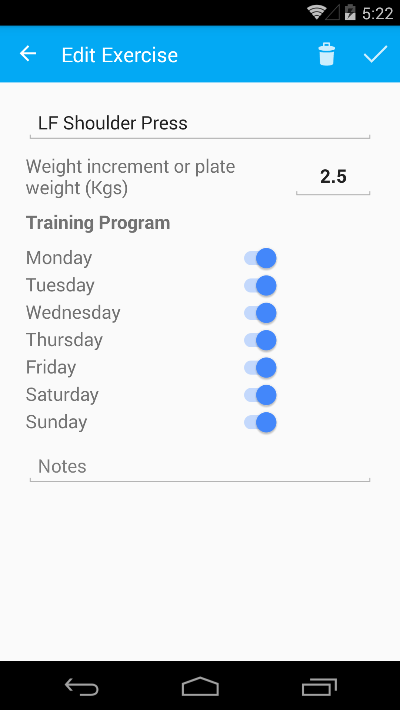Exercise details