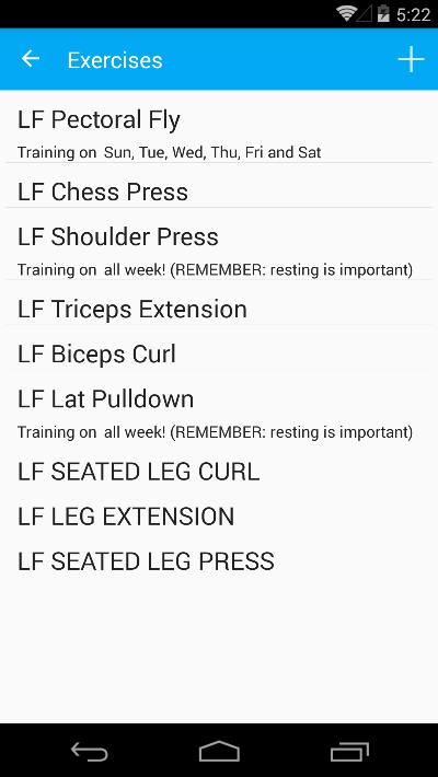 Exercises list