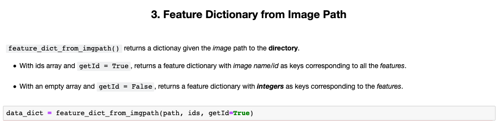 feature dictionary