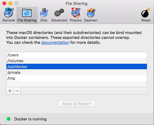 Docker for Mac File Sharing Settings