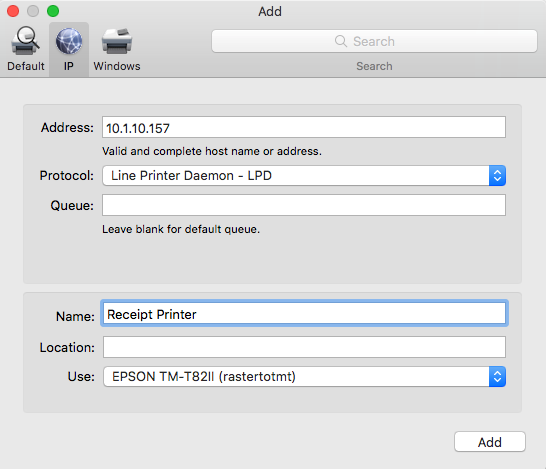 Setting Up Your Epson TM-T82II (LAN) for Mac, PC or iPad