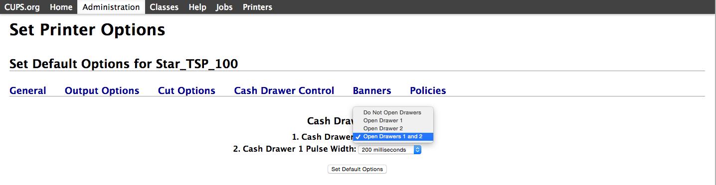 Configure a Star TSP100 or TSP143 printer to open the cash
