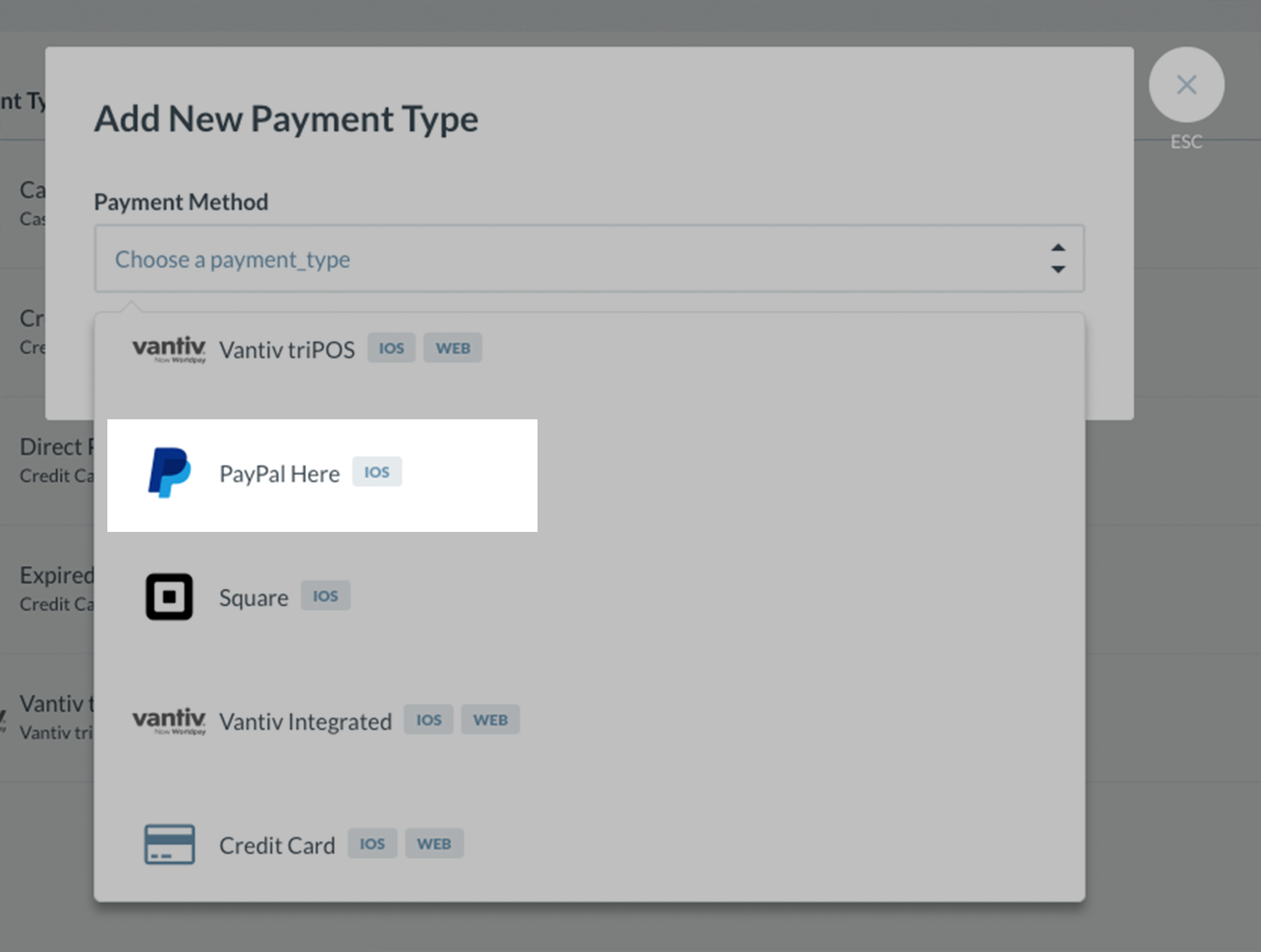 choose paypal here from the drop down list - Paypal Credit Card Swiper