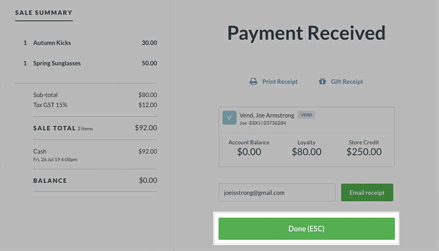 Vends Sell Screen On Mac And PC How Can We Help - Making receipts for customers