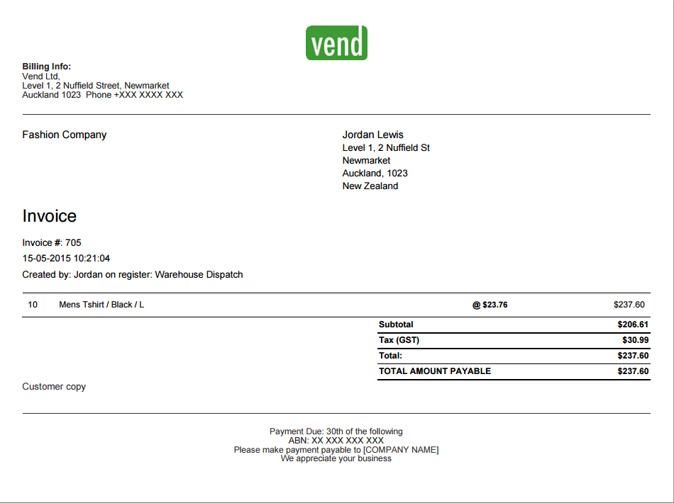 user interface bill receipt