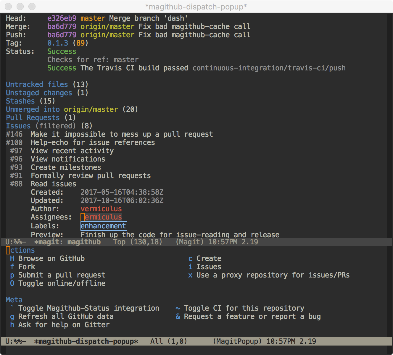 Spacemacs - Magit Status - Magithub in action