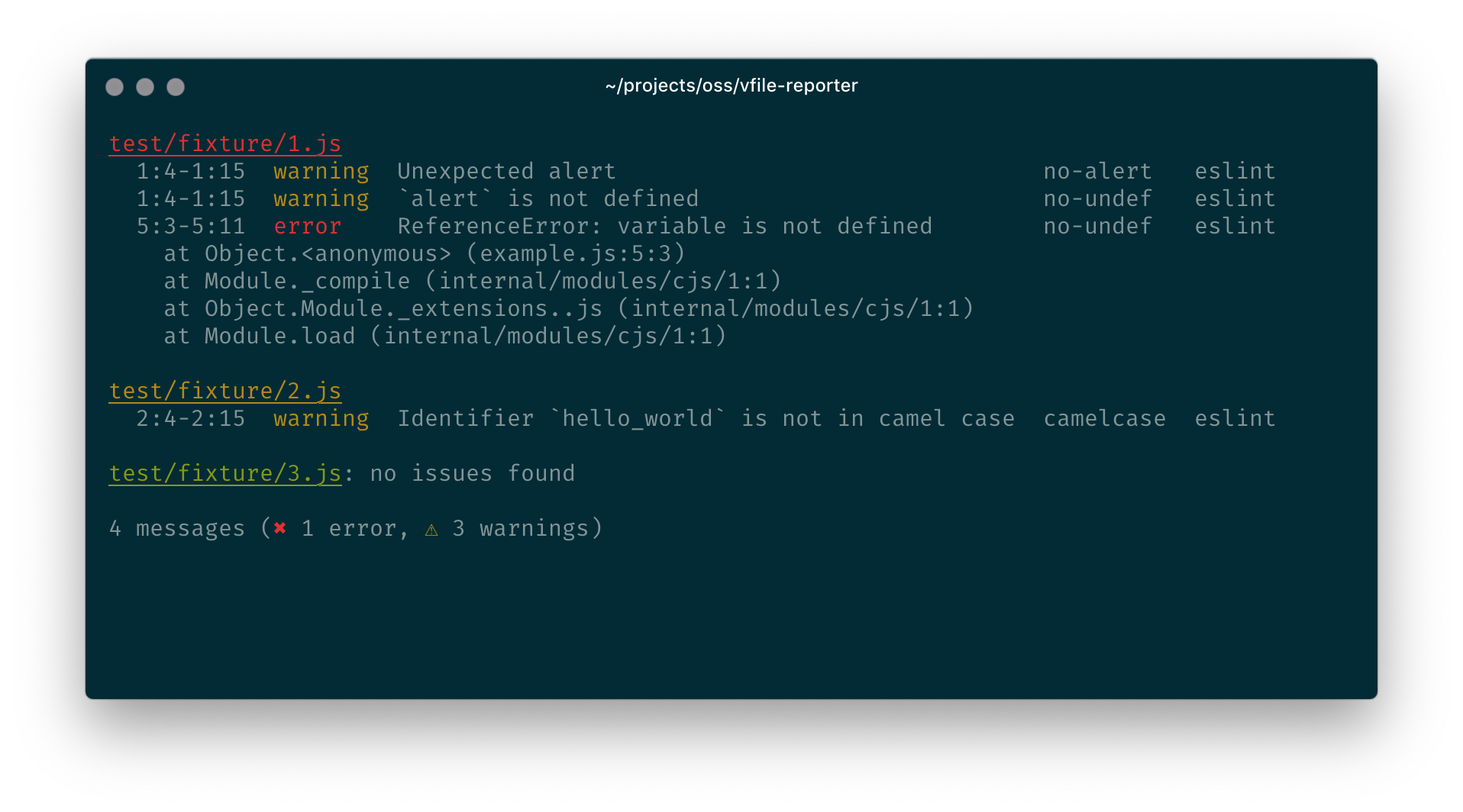 Example screenshot of vfile-reporter