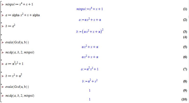 alt Euclides examples in Fq[X]