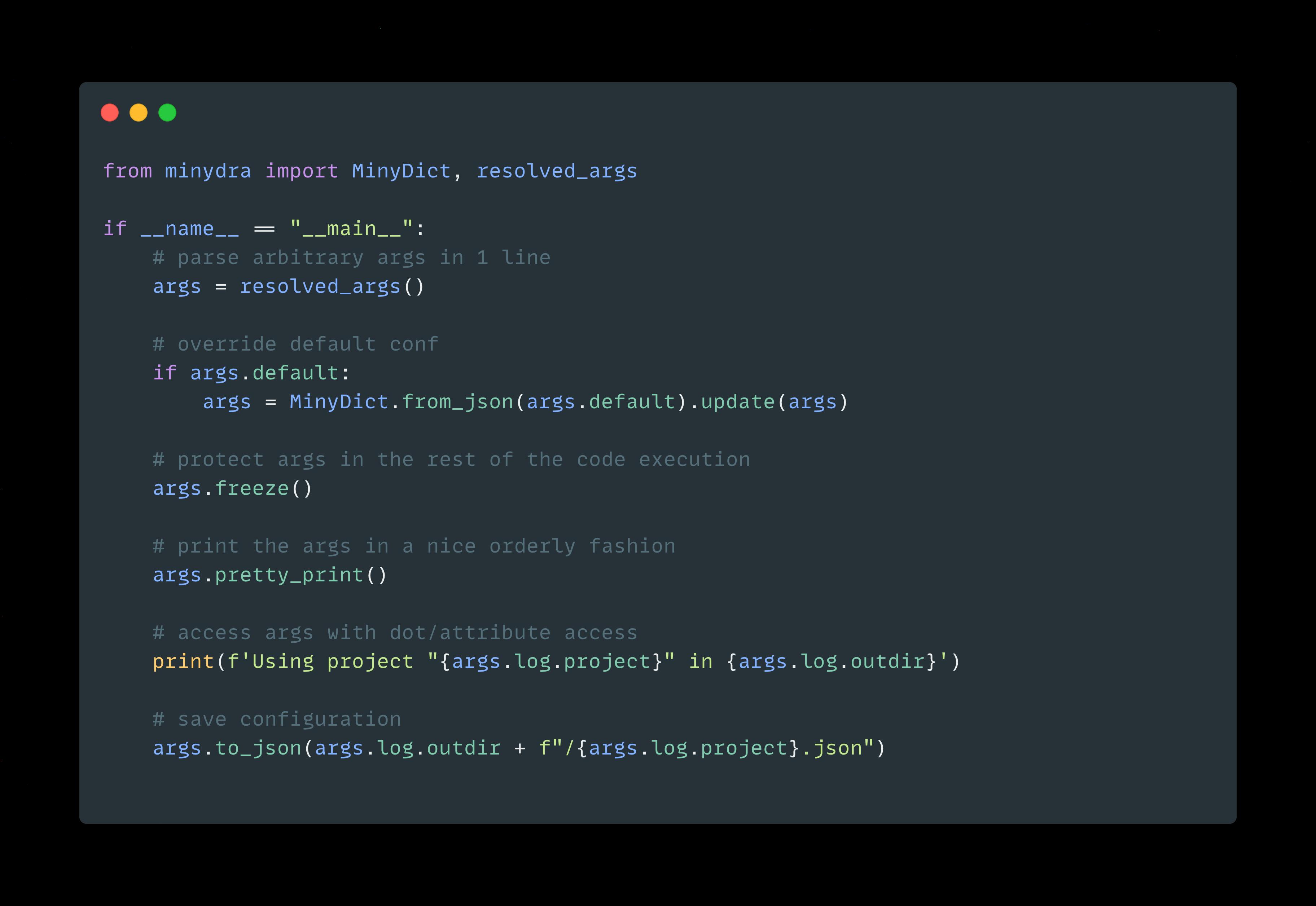 minydra code example