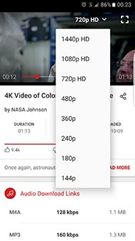 Search and download music and videos from 144P to 4K 60fps in full HD