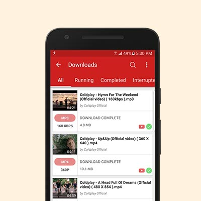 Videoder downloads screen