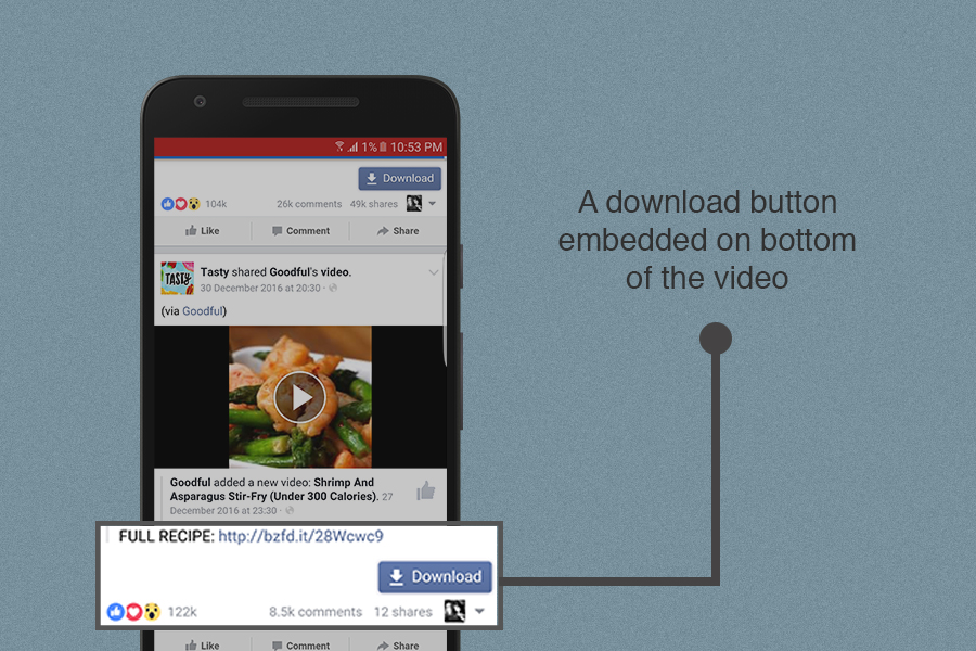 Tappa sul pulsante download sotto i video di Facebook