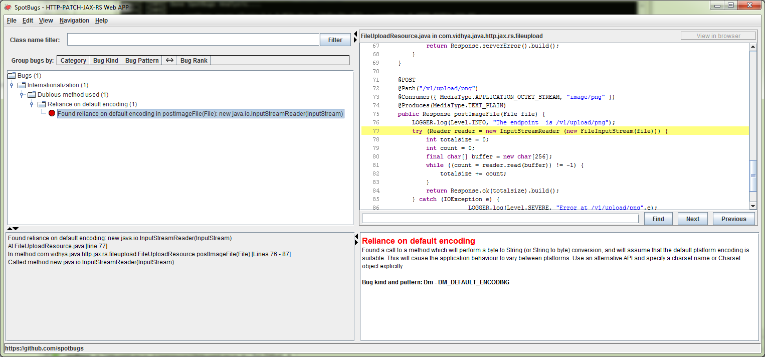 spotbugs error view in GUI