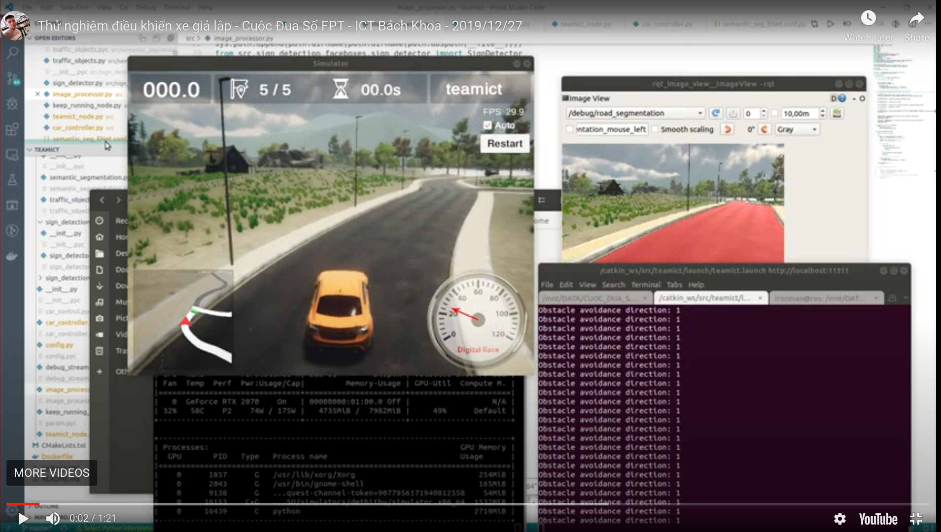SELF-DRIVING CAR - ROS NODE TO CONTROL SIMULATION CAR (GROUP PROJECT)