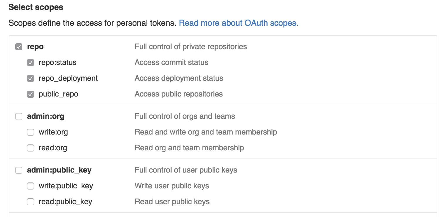 GitHub token settings