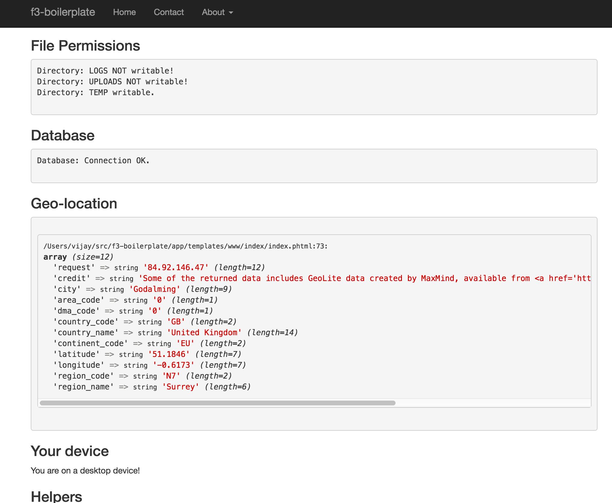 f3-boilerplate homepage screenshot