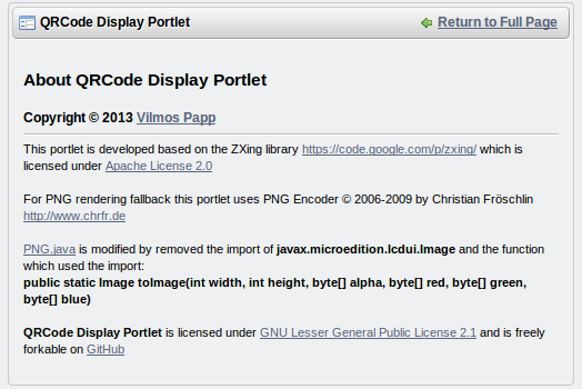 About QRCode Display Portlet
