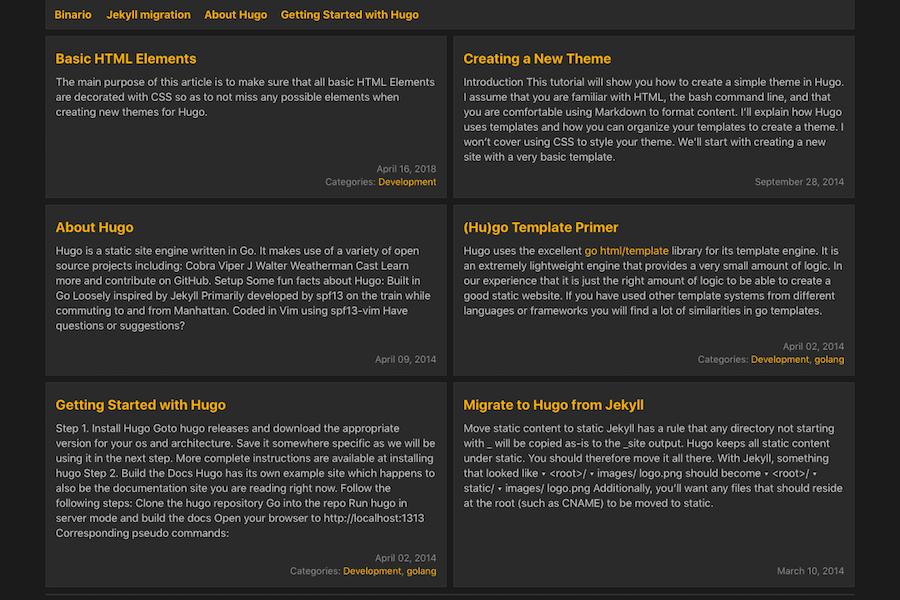 Binario theme screenshot