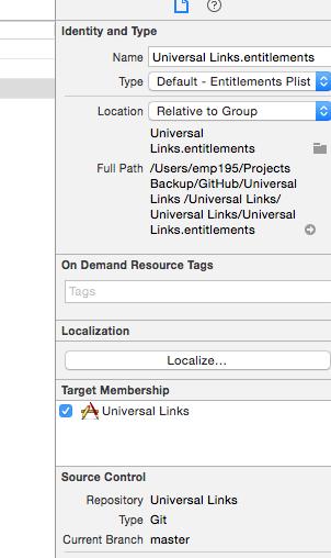 Universal Links / Setup iOS Application Enabling Universal