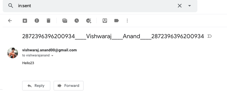 Email is forwarded via GMail