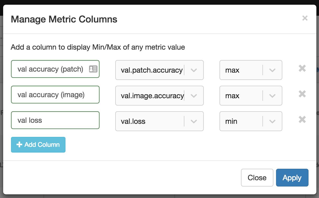 Adding Metrics Columns