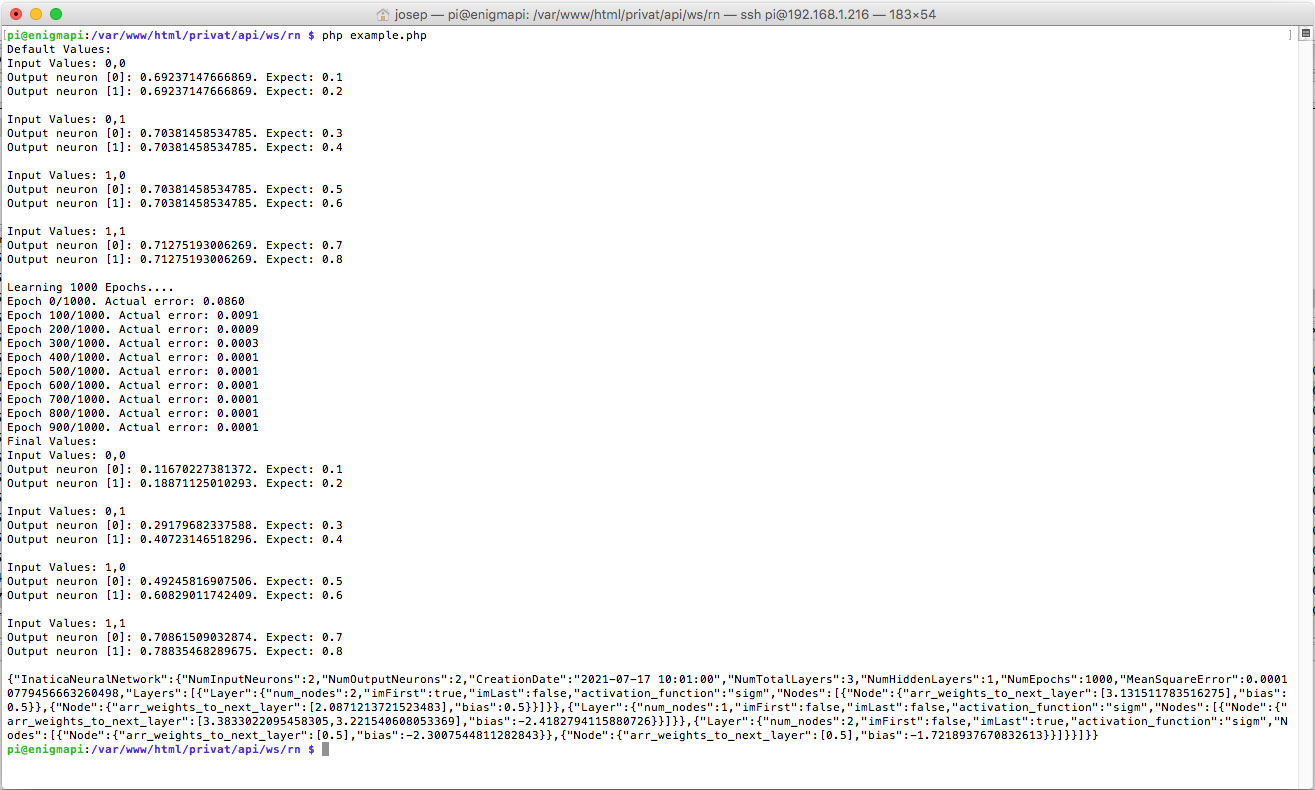 Screenshot of the NEURAL NETWORK with PHP