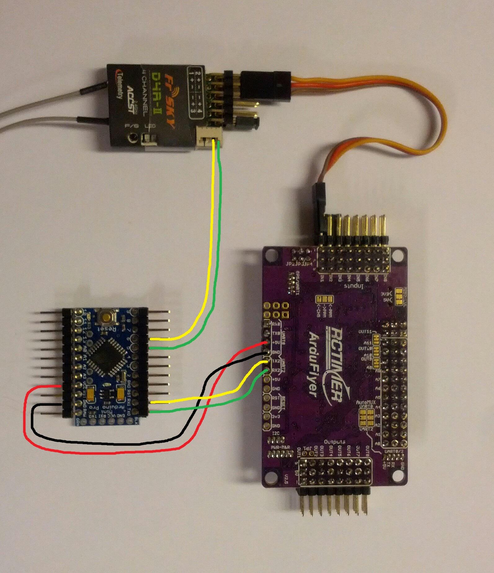 APM UART2 to Arduino pro mini
