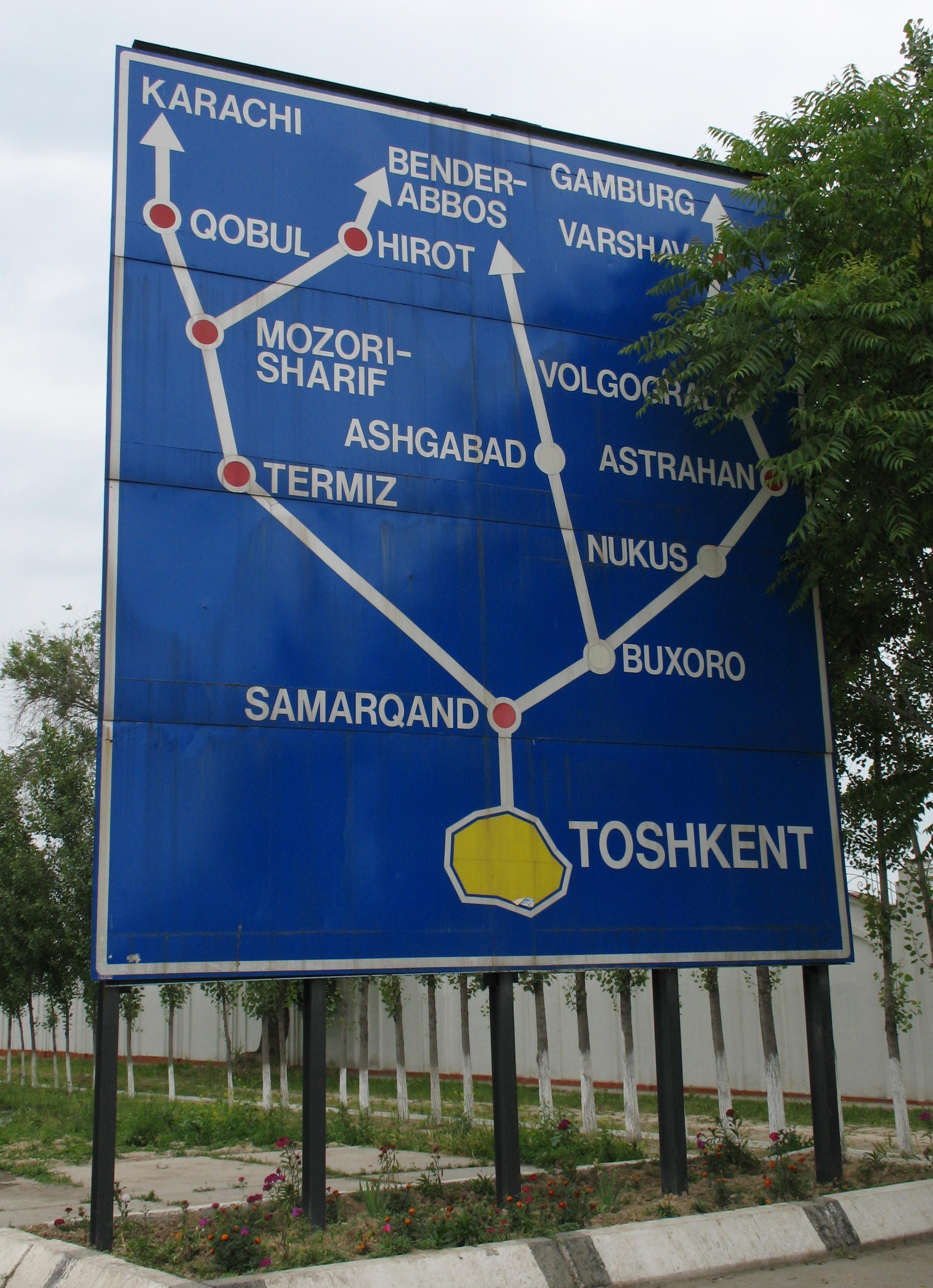 Wegweiser am Südrand von Taschkent