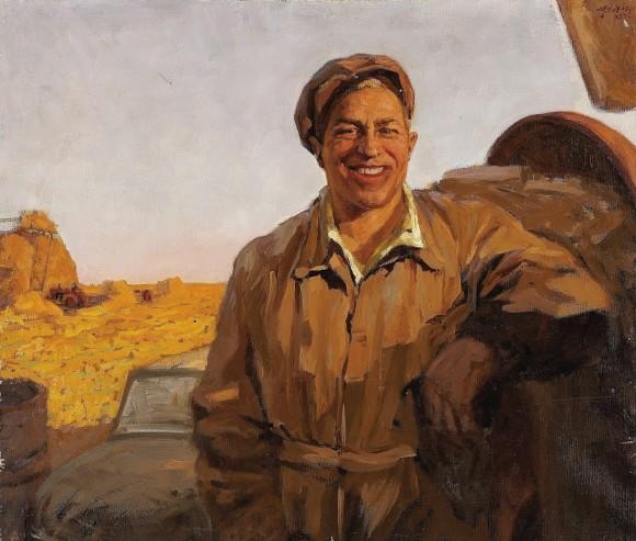 Valentin Bogdanov - Man in Landscape 1957