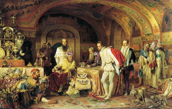 Alexander-Dmitrievich-Litovchenko-Ivan-IV-of-Russia-Demonstrates-His-Treasures-to-the-Ambassador-of-Queen-Elizabeth