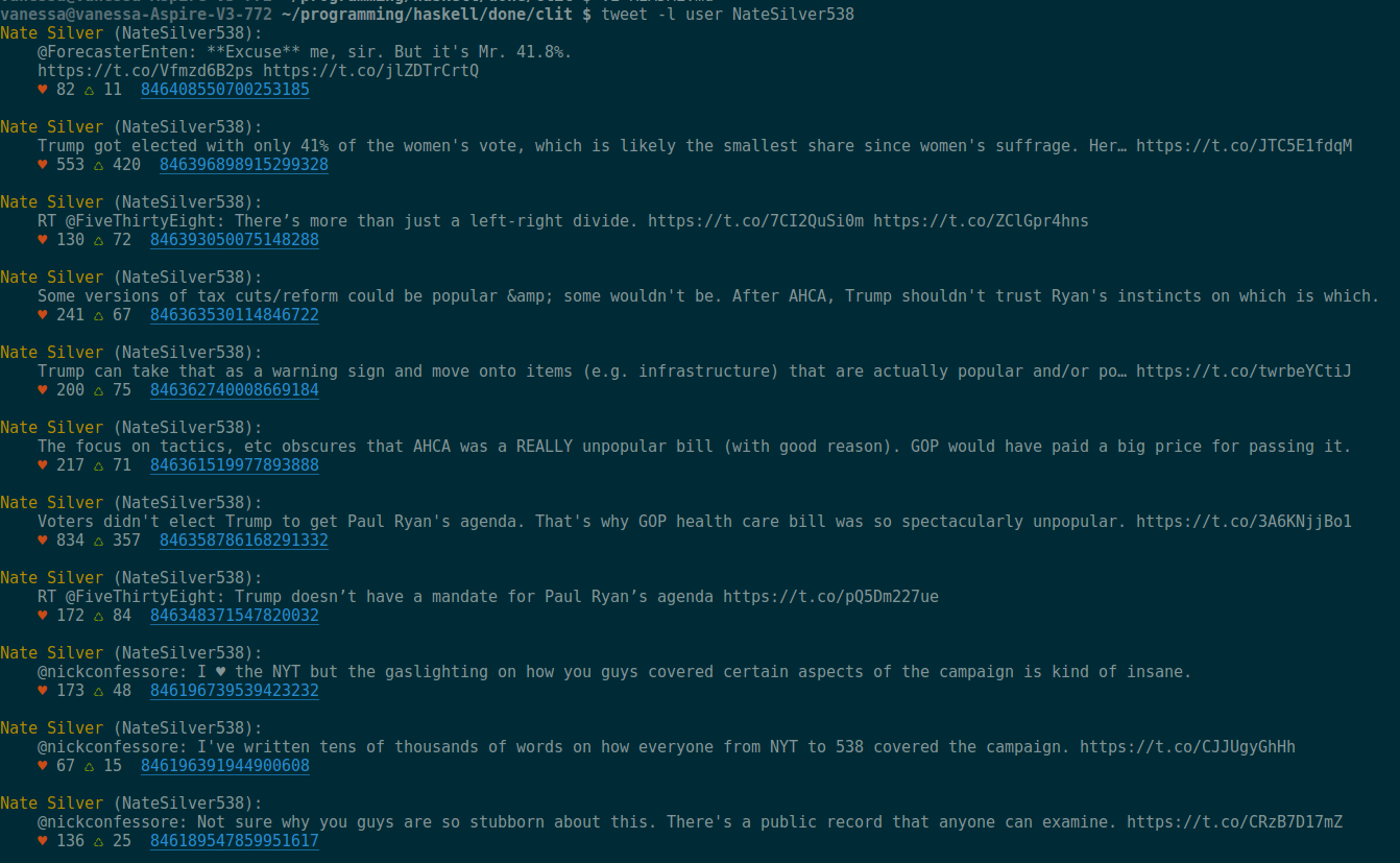 Displaying a user timeline in a terminal.