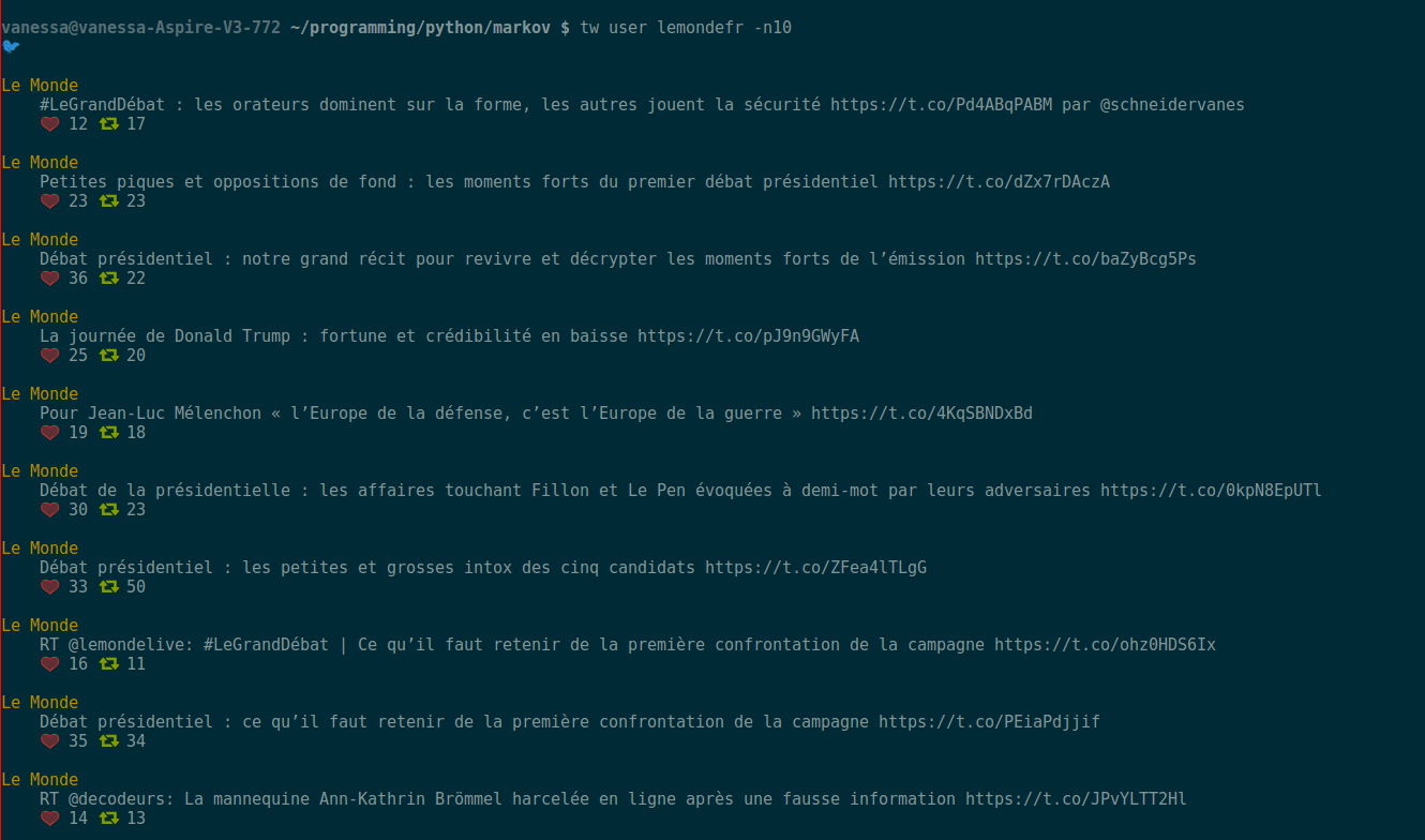 Displaying a user's timeline in a terminal.