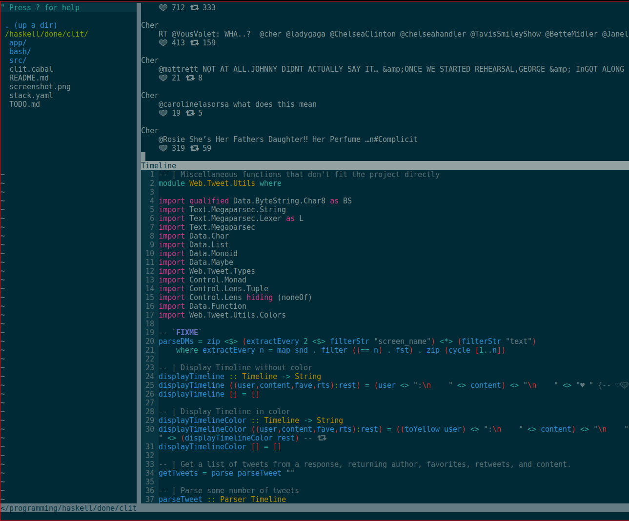 Displaying Cher's tweets in vim.