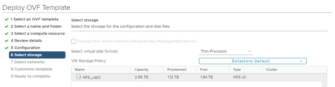 Select storage for NSX-T Manager VM.